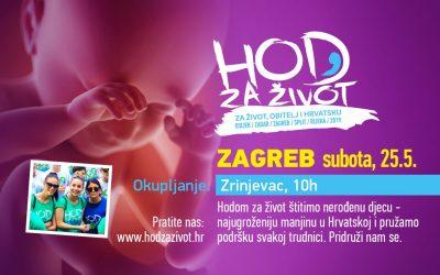 Hod za život Zagreb: Okupljanje sudionika započinje u subotu, 25.5., u 10 sati na Zrinjevcu